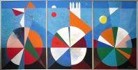 2010-Ébredés-triptichon-akril vászon-100x210